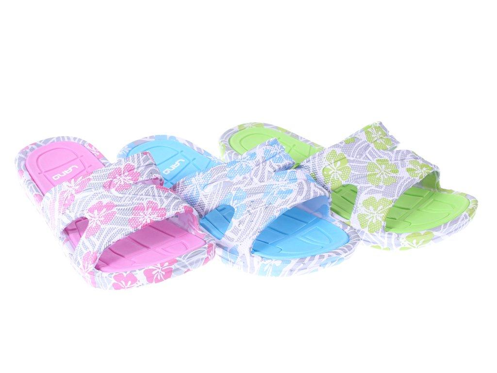 eaf29604 Klapki basenowe damskie Lano DKL-3-1330 niebieskie, zielone i różowe rozm.