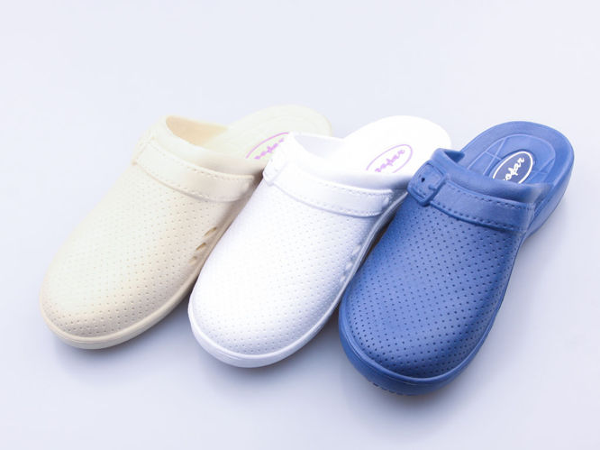 Women's pool slippers Gofar DF0807 white, navy blue and beige, size 37-42